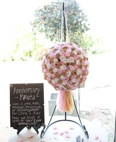Anniversary Pinata/Guest Book -- pop it open on your 1st Anniversary and read the notes all your guests left you! How cute and creative!
