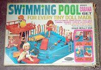 Remco Pocketbook Dolls  swimming pool- what I always wanted and santa never brought me