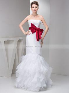 Marinelle - robe de mariée sirène sans bretelles en satin avec nœud à boucles