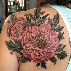 #pink #peony by Alice Kendall @alicestattoos #botanical #floral #bouquet #wonderlandpdx