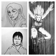 Some of my followers are asking for some of my college work (a kind of #throwbackthursday deal) This is some of my college #illustration work- also designs for characters in the upcoming graphic novel #TheDystopiaLine (Which I'm illustrating in my free time with a creative team!) #Inktober #art #comic
