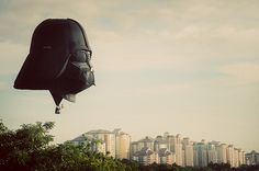 If you're going to ride in a hot air balloon, do it right! A Death Star would be hilarious...