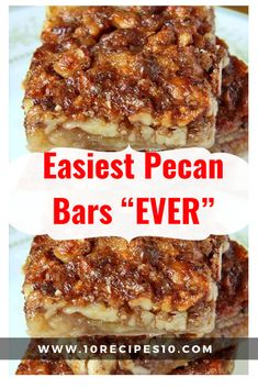 I love serving easy to make bars at a gathering. These Pumpkin Pecan Pie Bars an… I love serving easy to make bars at a gathering. These Pumpkin Pecan Pie Bars and Caramel Chocolate Pecan Bars are also a family favorite Pecan Desserts, Pecan Recipes, Cooking Recipes, Recipe For Pecan Pie, Desserts With Pecans, Cookie Desserts, Candy Recipes, Pie Recipes, Pecan Pie Cookies