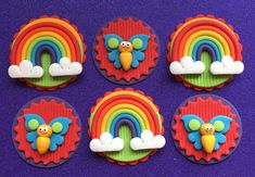 Edible fondant 12 Rainbow and Butterfly cupcake toppers. Would
