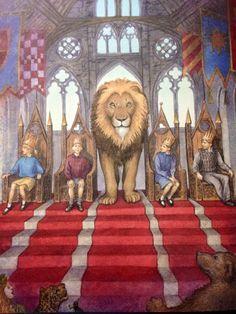 Narnia- Aslan the Lion crowns Peter, Susan, Edmund and Lucy as Kings and Queens of Narnia Spiritual Movies, Aslan Narnia, Power Rangers, Lion Of Judah, Avengers, Chronicles Of Narnia, Cs Lewis, Fanart, Geek Humor