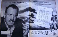 John Steinbeck for Ballantine Ale (via 12 Vintage Ads Starring Famous Authors)