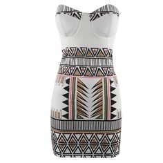 Graceful Strapless Sleeveless Printed Bodycon Women's Dress ($15) ❤ liked on Polyvore featuring dresses, vestidos, short dresses, short strapless dresses, short bodycon dresses, white bodycon dress, body con dress and strapless mini dress
