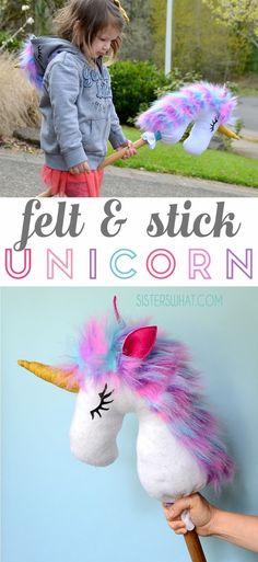 An easy to make felt and stick unicorn hobby horse! an easy sewing tutorial #sewing #unicorn #sewingforkids