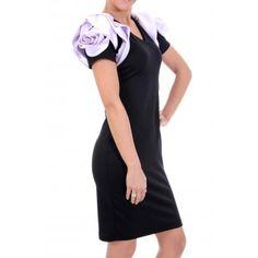 Rochie Neagra Umeri Floare Dresses For Work, Casual, Shopping, Fashion, Moda, Fashion Styles, Fasion, Casual Clothes
