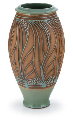 Beautiful Sgraffito pottery vase in soft green and brown by by Bob Meier of Doe Ridge Pottery. Functional Art Pottery.