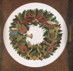 CCS Musical Instruments Christmas Wreath by BusyBeaverBoutique Cross Stitch Charts, Cross Stitch Patterns, Musical Christmas Decorations, Christmas Cross, Christmas Wreaths, Anchor Threads, Musical Instruments, Musicals, Etsy