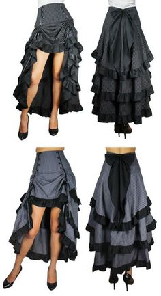 High Waist Long Black Gray Tiered Layered Skirt Bow Steampunk Pirate Goth