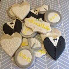 Bride and groom wedding cookies engagement ring
