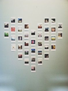 DIY Projects to Turn Your Photos into Wall Art Polaroid heart wall art is so cute!Polaroid heart wall art is so cute! Photo Polaroid, Polaroid Wall, Instax Wall, Polaroids On Wall, Ways To Hang Polaroids, Hanging Polaroids, Poloroid Camera, Mini Polaroid, Hanging Photos