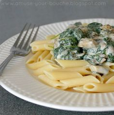 Creamy Boursin pasta with mushrooms and spinach - Amuse Your Bouche