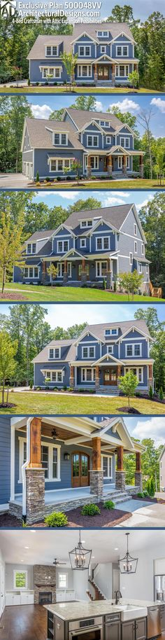 Architectural Designs Exclusive Craftsman House Plan 500048VV has 4+ beds | 3.5+ baths | 3,400+ square feet of heated living space.  + https://www.pinterest.com