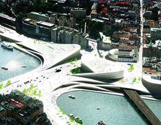 slussen transportation hub, stockholm city center, big architects, nod landscape architects, sustainable transportation, eco-friendly transit, public transit hub