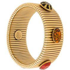 Gas Bijoux 'Strada' bracelet (£170) ❤ liked on Polyvore featuring jewelry, bracelets, metallic, tri color jewelry, colorful bangles, colorful jewelry, multicolor jewelry and metallic jewelry