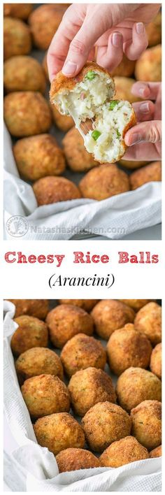 Cheesy Rice Balls (Italian Arancini) *Use gfree breadcrumbs Cheesy Rice, Vegetarian Recipes, Cooking Recipes, Snacks Saludables, Rice Balls, Snacks Für Party, Yummy Food, Delicious Snacks, Tasty