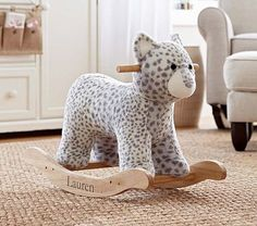 Snow Leopard Rocker @Pottery Barn Kids SO Darling! #pinparty #leopard