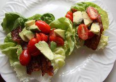 Avocado, Tomato & Bacon Lettuce Wraps  -- who needs bread for this Paleo treat?