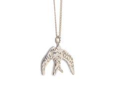 Swallow necklace sterling silver door Twinklebird op Etsy