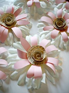 10 gerbera daisy paper/fabric flowers for by ENCHANTEDHOMEDECOR, $15.00