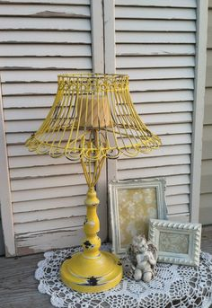 Unique Yellow French Country Lamp Candle Holder / Scrolled Lamp with…