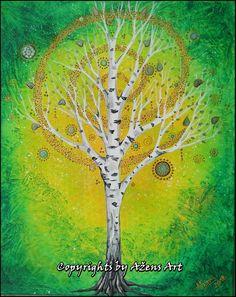 Mixed Media Canvas, Tree Of Life, Dandelion, Flowers, Plants, Painting, Birch, Art, Life