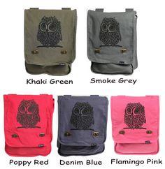 Owl Messenger Bag Denim Blue. $28.00, via Etsy.