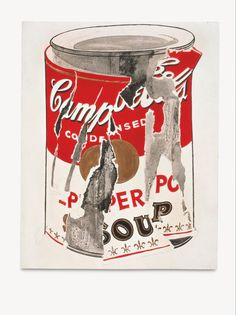 The Broad Contemporary Art Museum, Los Angeles: Small Torn Campbell's Soup Can (Pepper Pot), 1962 - Warhol Appropriation Art, Art Pop, Sopa Campbell, Andy Warhol Soup Cans, Pittsburgh, Warhol Paintings, Campbell's Soup Cans, The Broad Museum, Gold Paint