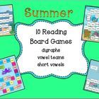 10 SUMMER Reading Board Games *Game 1-Scuba Diving Theme-Ch,Sh, ee, CCVC, CVCC, Silent E *Game 2-Ocean Theme- Long E-silent E, EE, EA, CVV, *Game 3...