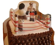 boxers and boxing ring cake Ring Cake, Cakes And More, Boxers, Birthday Cakes, Celebration, Party, Desserts, Food, Birthday Cake Toppers