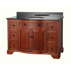 Manchester 49 in. Vanity in Mahogany with Granite Vanity Top in Black-MNGVT4922D at The Home Depot
