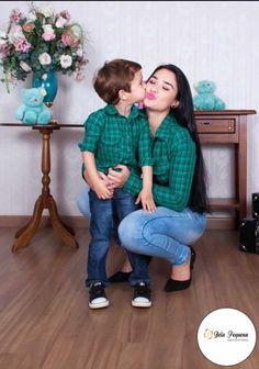 Camisas Xadrez Verde Mãe e Filho