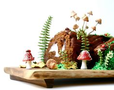Bûche de Noël by Sarah Lohman of Andie's Specialty Sweets on Etsy -- LOVE all the details and color!