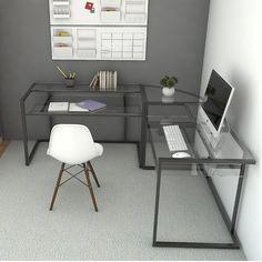 Ryan Rove Belmac 3-Piece Corner C Frame L Shaped Computer Desk