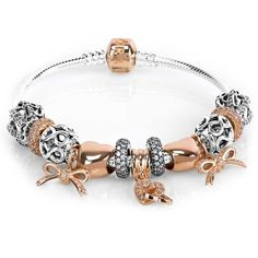 Rose Gold And Silver Pandora Bracelet