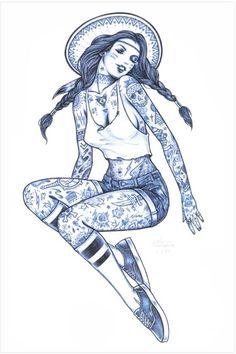 Tatouages et Jolies Filles – 21 superbes illustrations par Adam Isaac Jackson