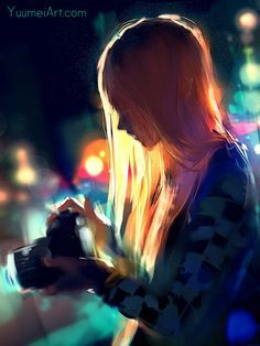 "veryprivateart: "" Artist: Yuumei ""Alone among the lights"" Yuumei really reaches to make more than simple illustrations. I invite everybody to read his short and touching comic strip ""1000 words"" on..."