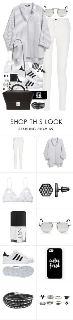 """Outfit with a striped shirt and superstars"" by ferned ❤ liked on Polyvore featuring Proenza Schouler, Violeta by Mango, Hanky Panky, Simply Vera, NARS Cosmetics, Prada, adidas, Casetify, Forever 21 and women's clothing"