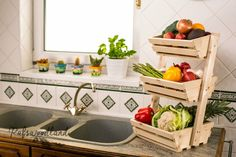 3 tier Wooden Vegetable fruit food storage rack Angled