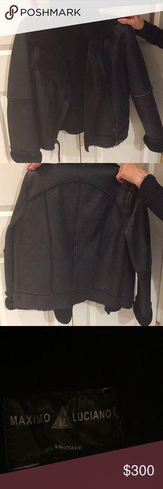 Black fierce leather jacket Made in Italy Maximo Luciano women's jacket never worn ! Jackets & Coats