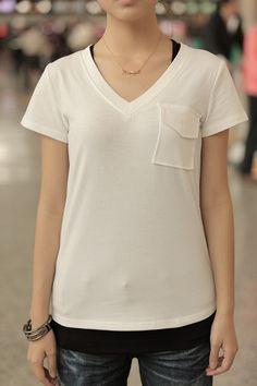 #SheInside White V-shape Short Sleeve T-shirt with Pocket Detail