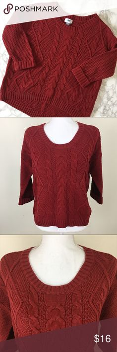 "Old Navy Red Cable Knit Sweater This red cable knit sweater from Old Navy features cuffed 3/4 sleeves. Good but used condition. Size: Small. Chest: 21.5"". Length (front): 21"". Length (back): 24.5"" B7 Old Navy Sweaters Crew & Scoop Necks"