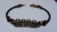 Beads and Stuff: Leather cord and metal chain bracelet (tutorial) -- use vegan-friendly material in place of leather!