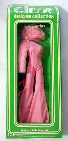 """Vintage """"Pink Panther"""" Outfit for Cher Doll, Designed by Bob Mackie, Part of the Cher Designer Collection, Distributed by Mego Corp., Made in Hong Kong, Copyright 1976."""