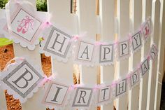 Ballerina birthday banner in pink and grey by sweetshoppepaperie