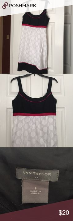 Ann Taylor dress Black bust and hem with pink trim and white polka dot skirt dress. Fully lined. Side zip. Great summer dress. Ann Taylor Dresses