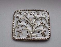 Norwegian-Oystein-Balle-Gilded-Silver-925s-White-Enamel-Brooch Enamel Jewelry, White Enamel, Norway, Brooches, Scandinavian, Jewlery, Sterling Silver, Beads, Vintage
